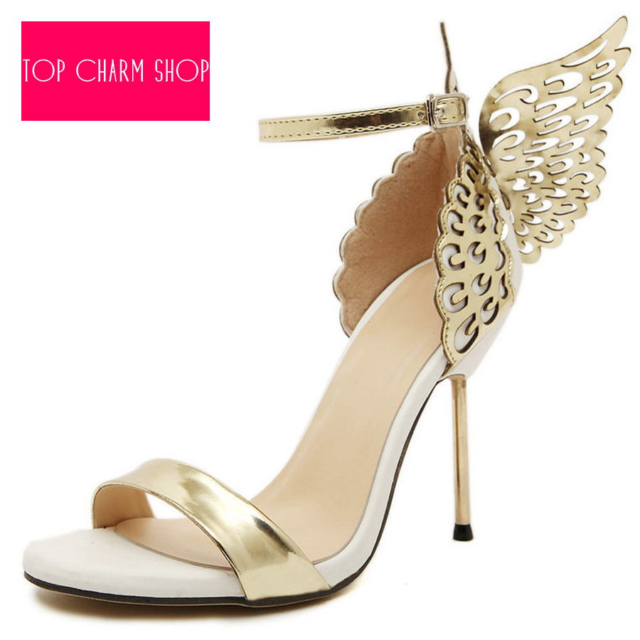 2015 Unique Design Angel Wing Sandals Women Wedding Pumps Gold ...