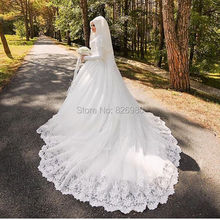 Real Photos Long Sleeve Veil Hijab Muslim Arabic Turkish Wedding Dresses Long Train 2017 Vestido De Noiva Islamic Wedding Gowns