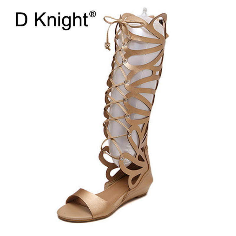 low price sale best cheap innovative design US $29.7 43% OFF|New Fashion Women's Cut outs High Top Gladiator Sandals  Ladies Casual Wedge Sandals Sexy Knee High Rome Sandals Size 35 40-in Low  ...