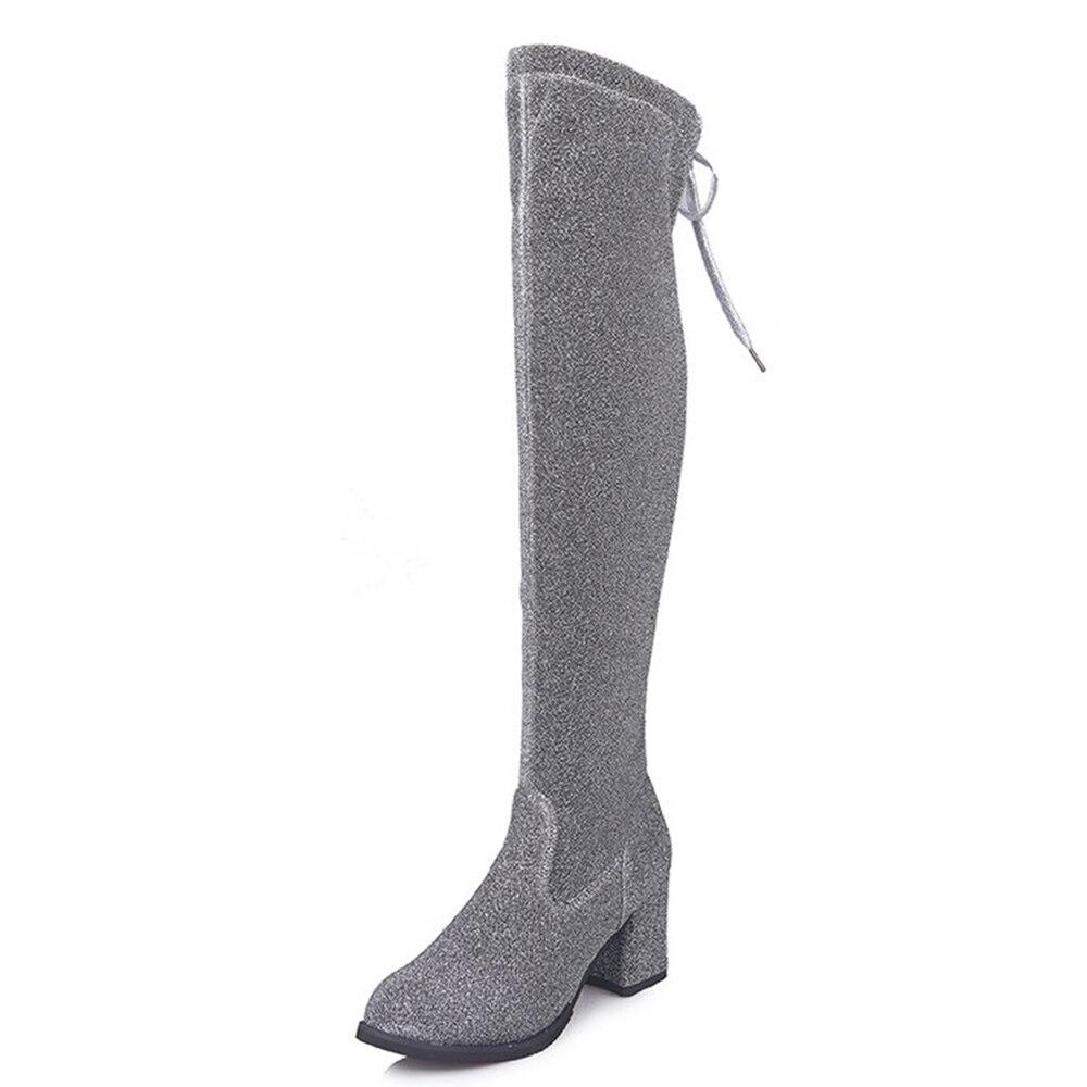 2018 Frauen Über Das Knie Stiefel Silber Block Heels Oberschenkel Hohe Stiefel Plus Größe 35-42 Winter Frühling Spitze Up Mode Stiefel