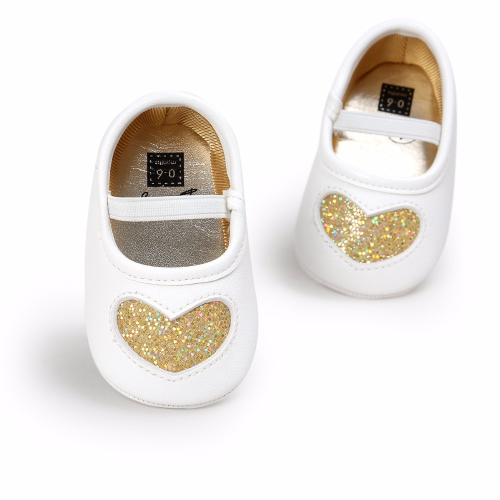 Infant toddler Princess Ballet shoes Fashion sequin bling Heart-shaped first walkers Anti-slip Pu Mary jane crib Girls shoes