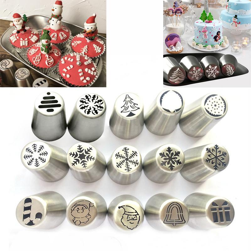 Christmas Decorating Nozzle Christmas Tree Snowflake Santa Claus Stainless Steel One-piece Cream Decorating Tool