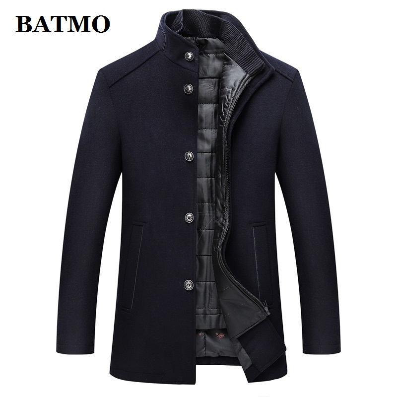BATMO 2019 new arrival autumn&winter high quality wool thicked trench coat men,men's wool jackets ,plus-size M-XXXL AL 02