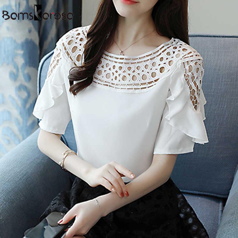 Partes Superiores das mulheres E Blusas Rosa Branco Azul Blusa Mulheres Verão Escavar Ruffles Manga Curta Mais a Camisa do Tamanho blusa blanca blusas