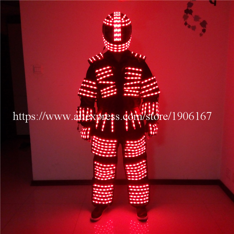 Colorful <font><b>led</b></font> luminous robot suit with <font><b>helmet</b></font> and gloves party stage show <font><b>dj</b></font> singer performance clothes
