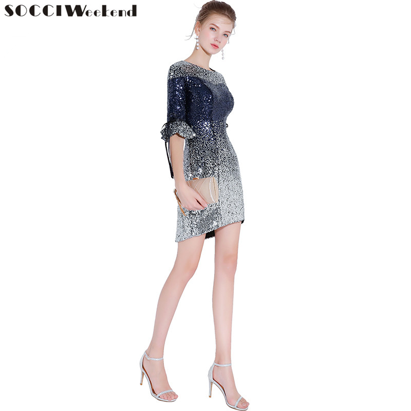 SOCCI Weekend New Luxury Banquet Sequined Cocktail Dresses Sexy Slim Gradient Silver Blue Mini Party Gown Custom Formal Dresses