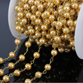 DIY 5Meter Smooth golden Glass Pearl Round Bead Rosary Chain,Gold plated Brass Wire Wrapped Chain Necklace Jewelry Findings