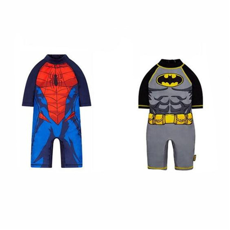 Spider Man Batman Cosplay Costume Anime Jumpsuits Sunscreen Long Sleeves Swimsuit Set Christmas Party Halloween Costume For Kids