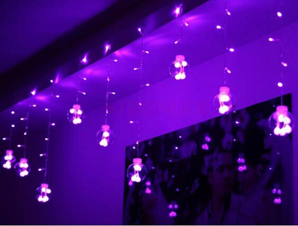 3m 120 LEDs Purple Glass Balls LED String Strip Christmas Lights Festival Holiday Wedding Party Halloween Decorations Luminarias multicolor led string strip christmas holiday wedding curtain lights 120 smd 12 glass balls 3m long 0 6 high decoration party