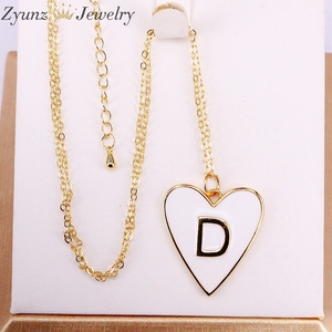 Image 2 - 10PCS, Gold Color White Enamel with Letter Pendant Necklace New Party Fashion Jewelry for Woman