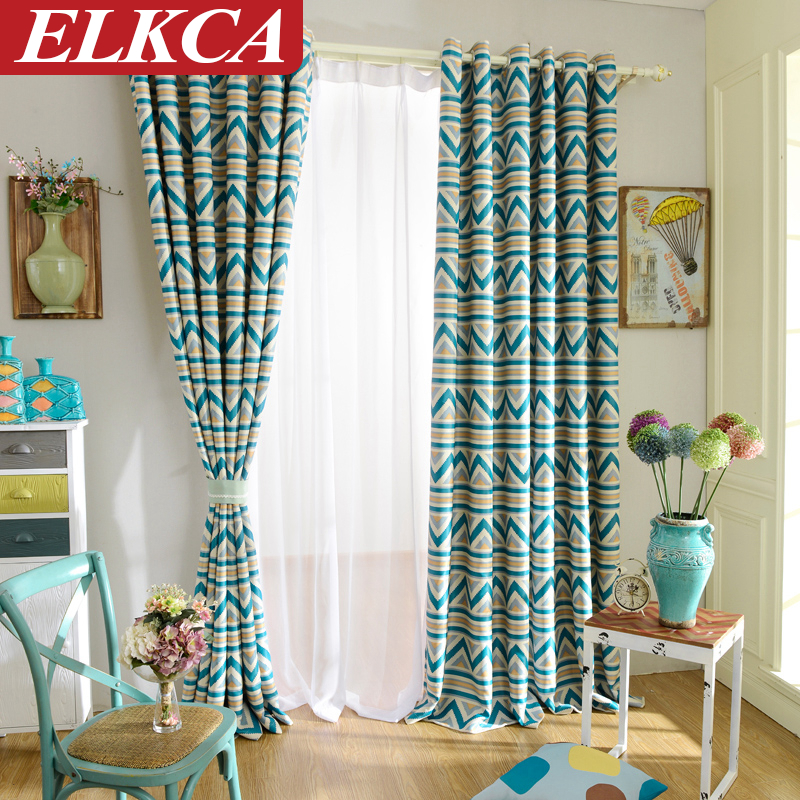 Blue Stripe Geometric Curtains For Living Room Drapes Modern Kitchen  Curtains Custom Made Blackout Curtains For