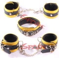 100%  4 color  real leather hand cuffs ,ankle cuffs,collar,double layer leather restraint cuffs kit,  sex game leather