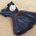 Vestidos de las muchachas azul Marino a rayas dots flor niños niñas vestidos de moda con cinturón vestido de niña de verano Al Por Menor Q06179