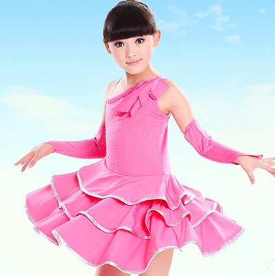 Spandex Standard Ballroom Dress Diamond Disfraz Infantil Children Sports Dance Dresses Vetement Enfant Girl Kids Salsa Dancing