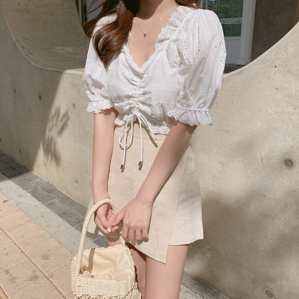 Embroidery Shirt Summer White Blouses Women Tops Skirt Women Short Sleeve Girls Blouse Linen Cotton Mini Pants Skirt  Plus Size