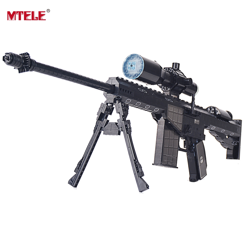 MTELE Brand Marines M107 Sniper Assault Rifle Gun Weapon 1:1 Model Building Blocks Sets 527Pcs Compatible with lego High Quality