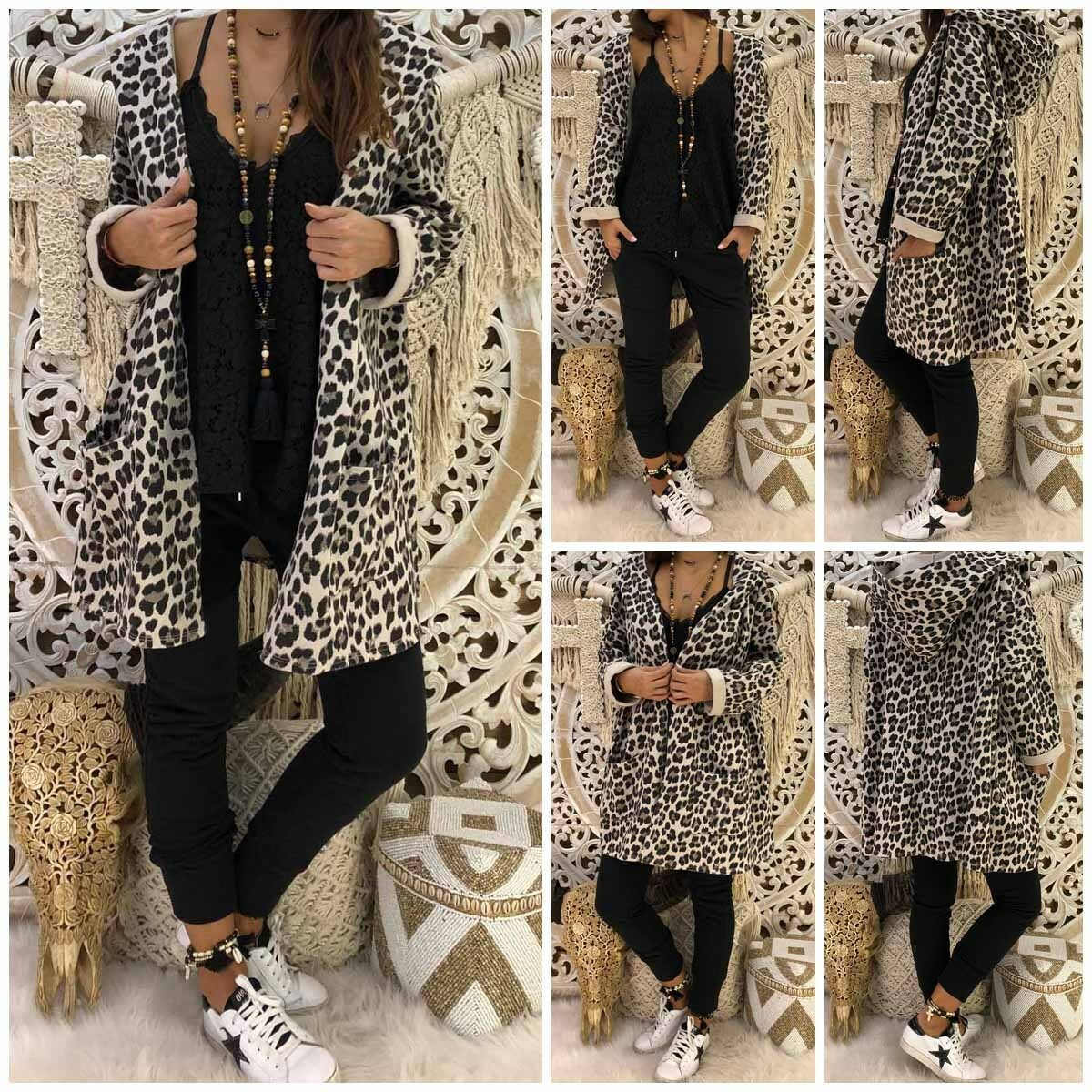 2020 Fashion Women's Leopard Printed Hooded Long Length Zipper Coat Cardigan Loose Casual Outwear