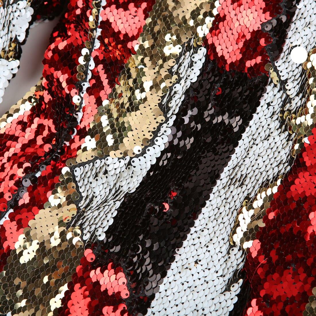 PYJTRL Neue Männer doppelseitige Bunte Streifen Rot Gold Weiß Schwarz Pailletten Blazer Design DJ Sänger Anzug Jacke Mode outfit - 3