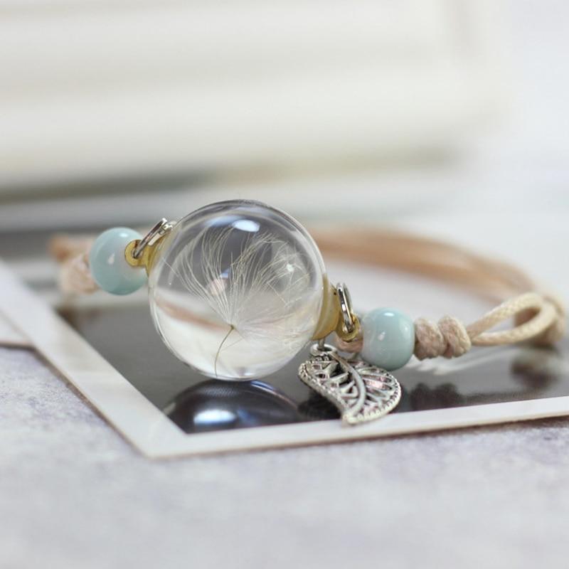 Glass Ball Dried Dandelion Bracelets Ceramic Hand-made Dried Flower Charm Bracelets Girls Gifts Natural Flower Weave jewelry