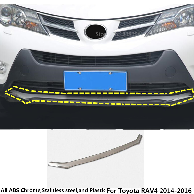 For Toyota RAV4 2014 2015 2016 Car body cover Bumper engine ABS chrome trim Front bottom Grid Grill Grille frame moulding 1pcs стоимость