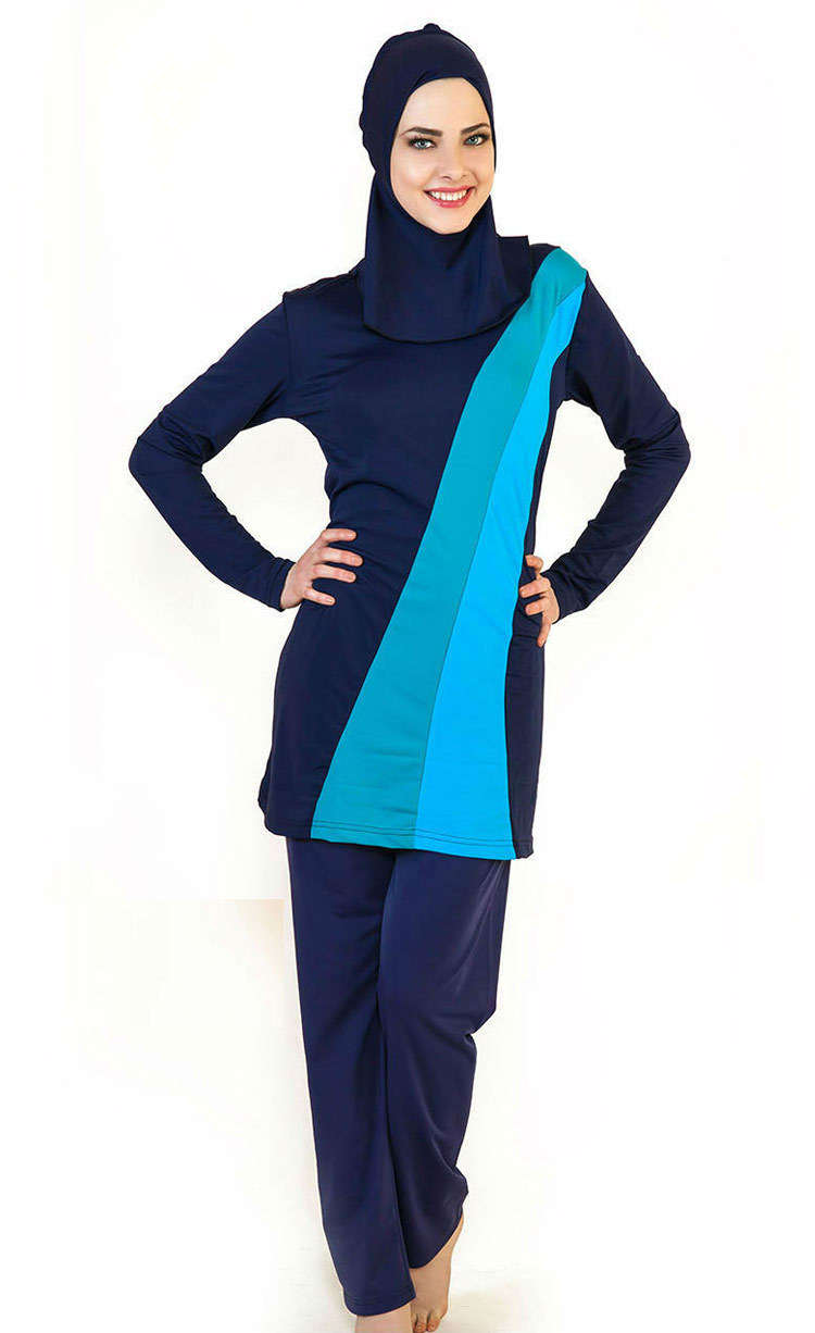 4812f9b76c Muslim Women Swimwear Islamic Swimsuit Full Face Hijab Swimming Beachwear  Swimsuit Sport Clothing Burkinis Beach Bathing Suit-in Rash Guard from  Sports ...