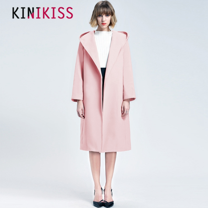 Autumn Women Winter  Clothing Cloth Coat  Hooded Coat Double Strap Buckle Free  Long Solid Color Black  Beige  Pink  Red Rust
