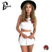 DayLook Summer Two Piece Set Women Bohemia Style Embroidery Floral Vintage Crop Top And Shorts Set