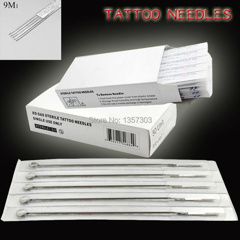 Free Shipping 100pcs 9M1 Hot Sale Pro Tattoo Needles Sterilized Disposable Tattoo Gun Needles Tattoo Kits