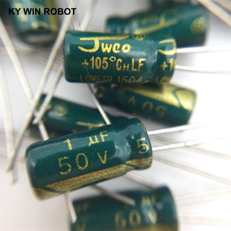 50pcs/lot 1UF 50V 1mf 105C 5X11mm Aluminum Electrolytic Capacitor 50V1UF Radial Lead 50pcs