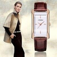 SINOBI Elegant Women Golden Bracelets Wrist Watches Casual Leather Watchband Top Luxury Brand Ladies Fashion Quartz