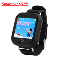 Оригинальный Q100 (Q750) GPS Baby Smart часы Сенсорный экран GPS Wi-Fi местоположения детей Часы PK Q90 Поддержка 2 г сети сим-карты России