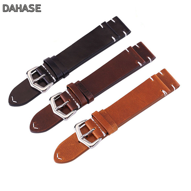 18mm 19mm 20mm 21mm 22mm 24mm Retro Calf Leather Watch Band Watch Strap Genuine Leather Strap Watchbands Belt with Spring Pins