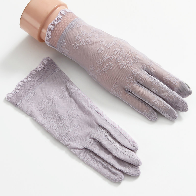 Ladies Summer Thin Gloves Summer Sun Protection UV Driving Non-Slip Spring And Autumn Lace Elastic Gloves TBFS10