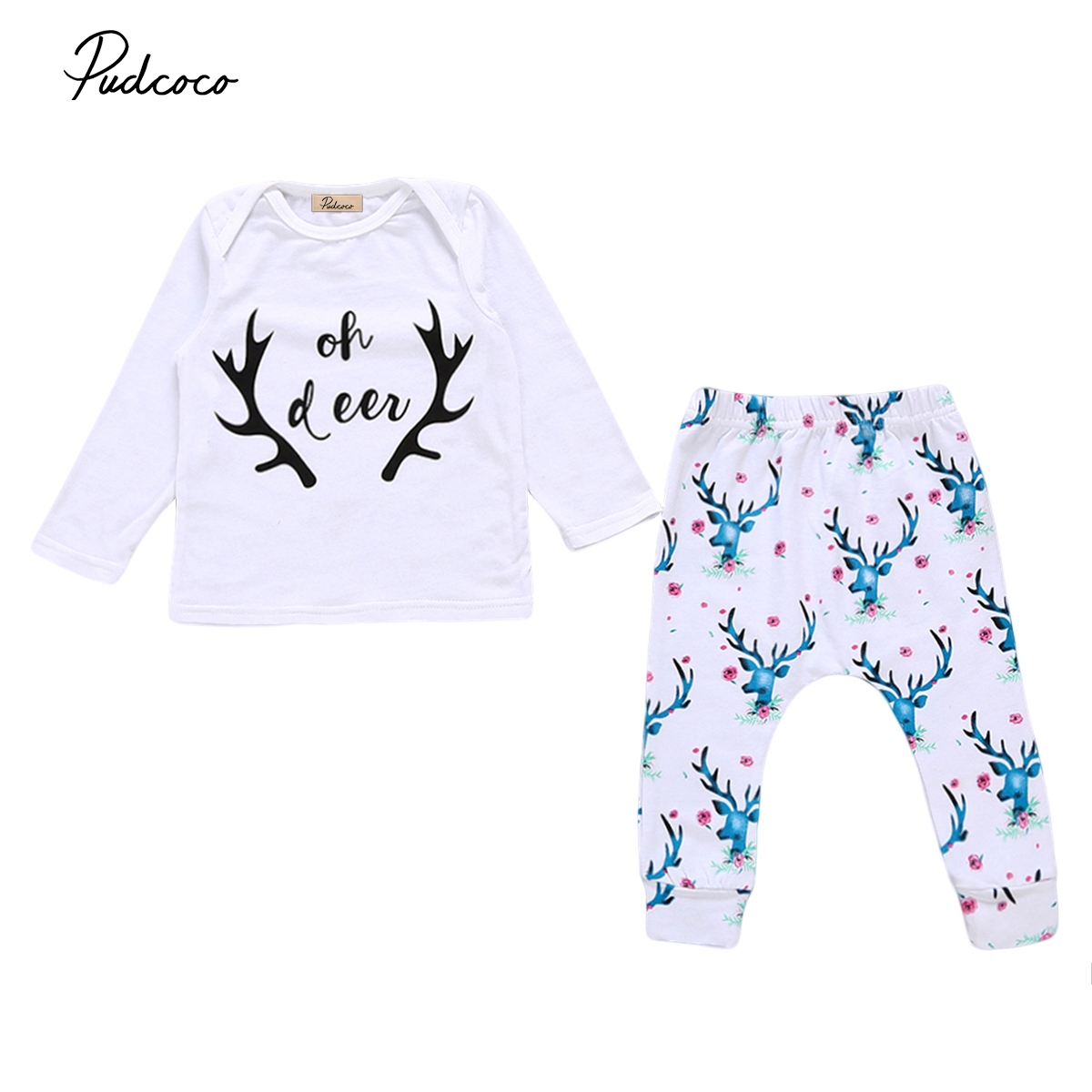 autumn baby clothing Newborn Baby boys Girls Deers print Tops T-shirt Pants baby Outfifts Set Clothes 0-24M