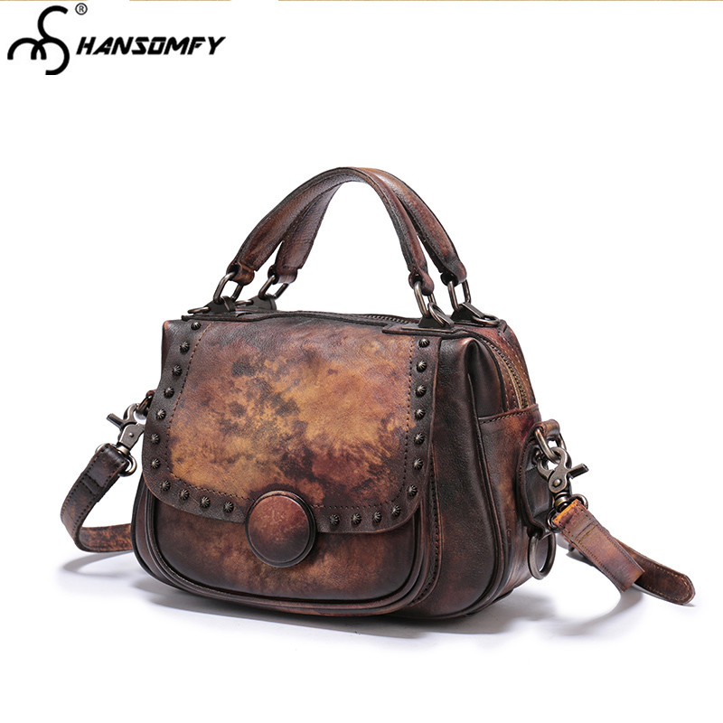 8c7da4220f 2018 new retro Women Bag Leather female handmade first layer cowhide rivet handbag  lady shoulder messenger bags-in Shoulder Bags from Luggage   Bags on ...