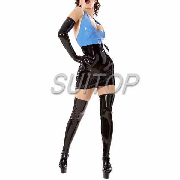 1e7540350 ... Latex blue top with black Rubber tight mini skirt black color sexy club  sheath sets