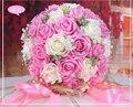 2017 Дешевые 8 цветов выбор Свадебные Букеты Розовый/Красный/Белый/Бордовый/Фиолетовый/Фуксия Люкс Для Невесты цветок Искусственные Букеты