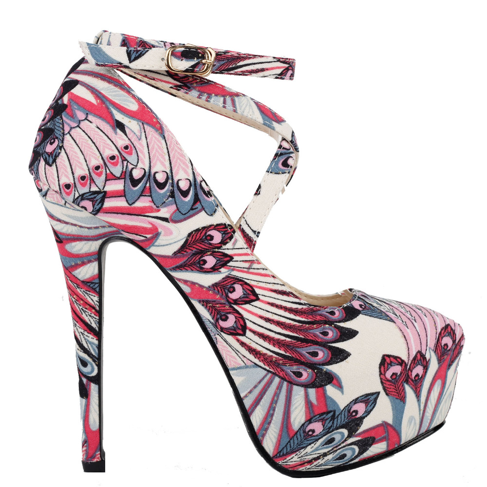 LF80850 Sexy Peacock Feathers Ankle-Wrap Platform Stiletto EVE Pumps Size 4/5/6/7/8/9/10 mld lf 1127 ankle supports