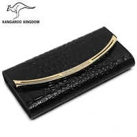 KANGAROO KINGDOM fashion patent leather women wallets long trifold purse lady brand clutch wallet card holder