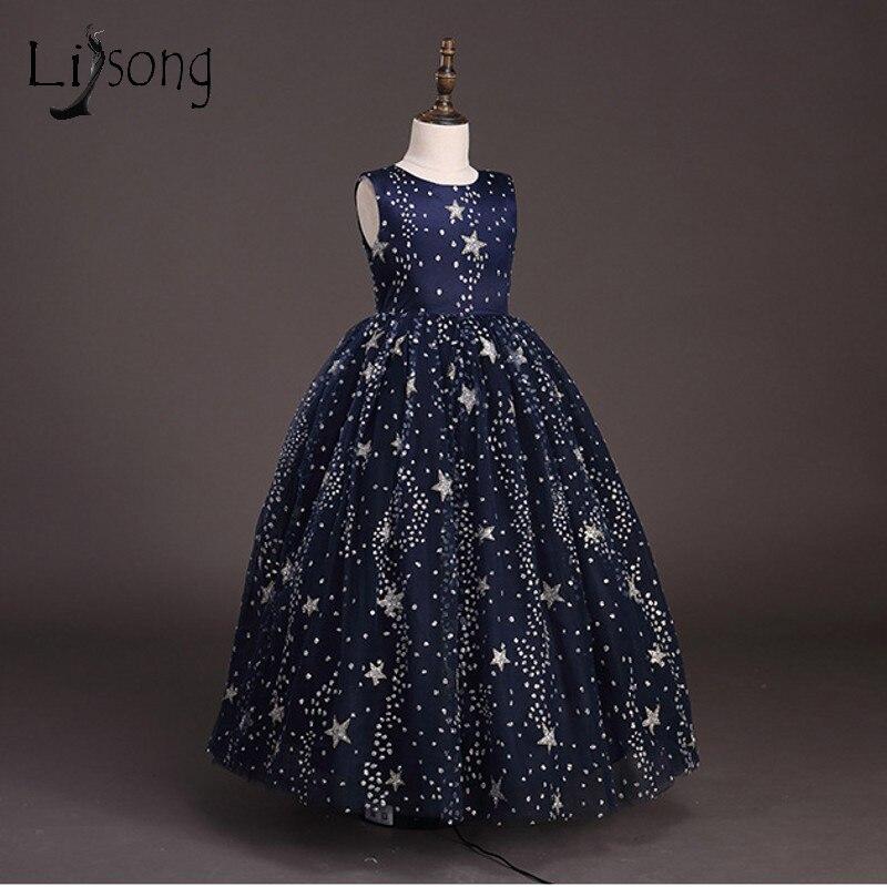 Navy Blue Sparkle Crystal Flower Girl Dresses Beaded Long Communion