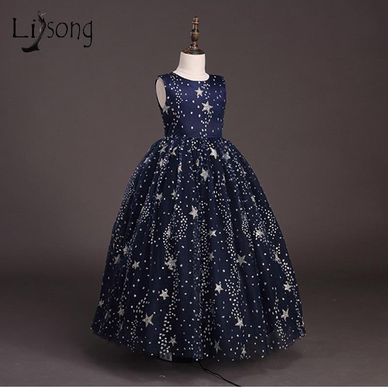 Navy Blue Sparkle Crystal   Flower     Girl     Dresses   Beaded Long Communion   Dresses   Sequined Stars Shape Pageant   Dresses   For   Girls