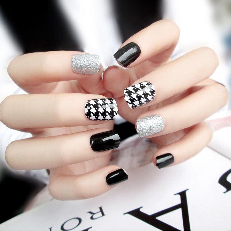 New 24pcs Trend of fake nails black and white fake nails(Contains no ...