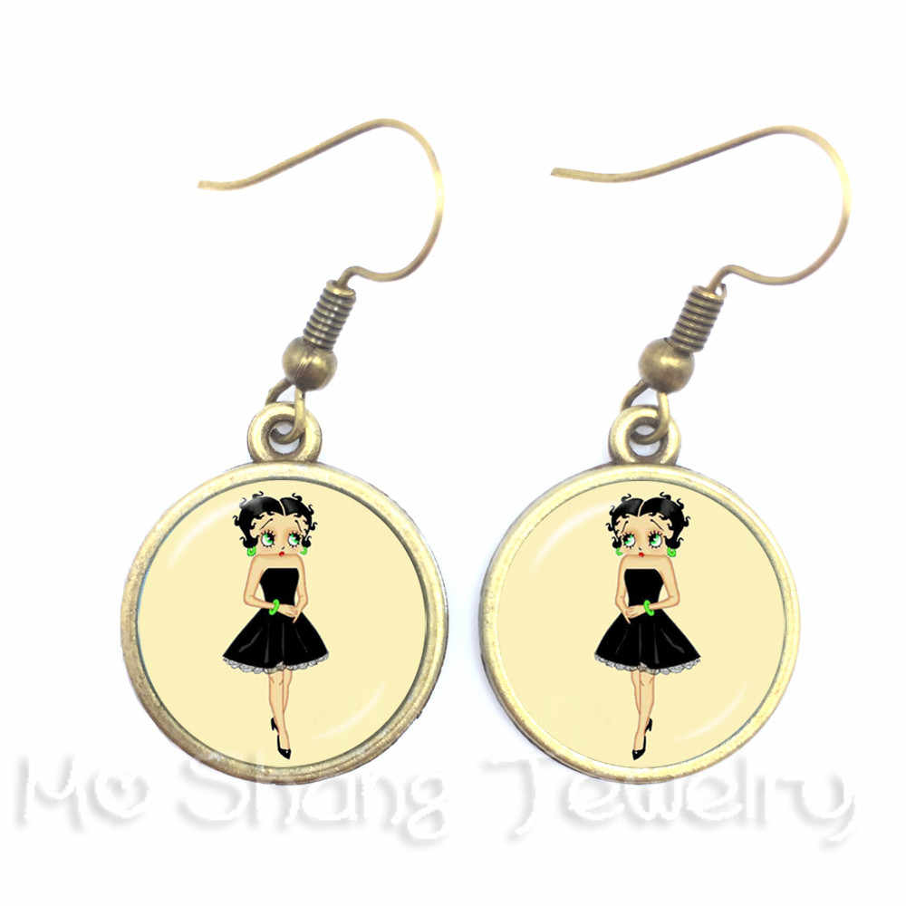 Vintage Yellow Background Betty Boop Series Pattern 16mm Round Glass Cabochon Handmade Dangle Earrings Retro Betty Boop Jewelry