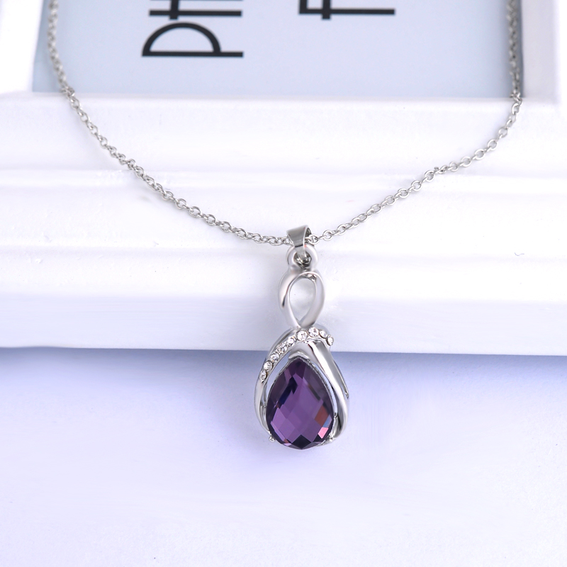 Female charm water drop pinkpurple necklaces pendants jewellery female charm water drop pinkpurple necklaces pendants jewellery chains crystal women fine jewelry pendant with stone mozeypictures Gallery