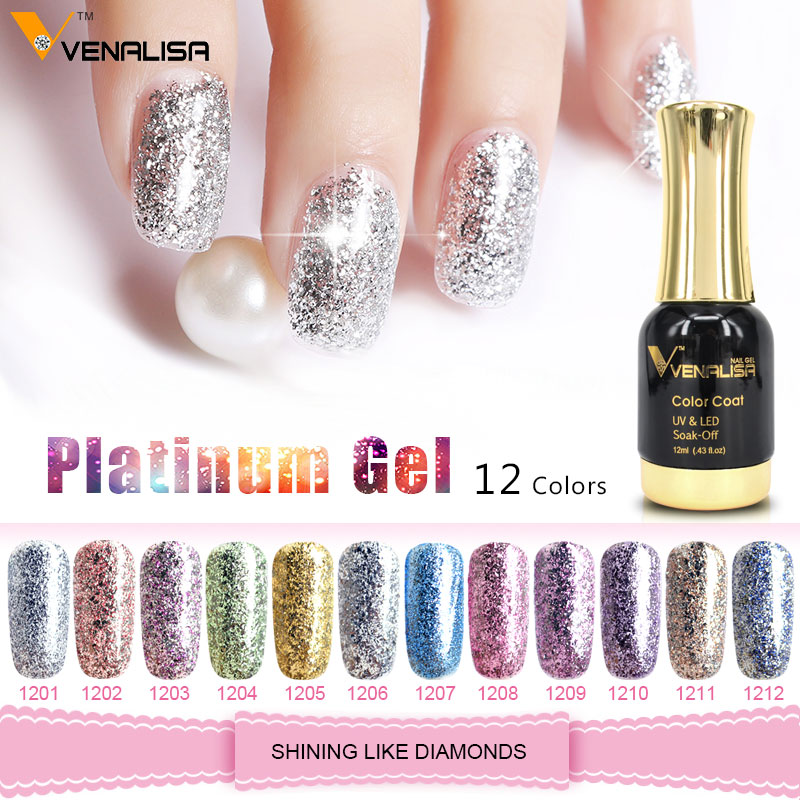 Venalisa 12 ml Platin Gel nagellack Super Glänzende Wirkung Nagel Gel Perfekte Soak off UV & LED nagel farbe folie chorme Gel Polnisch