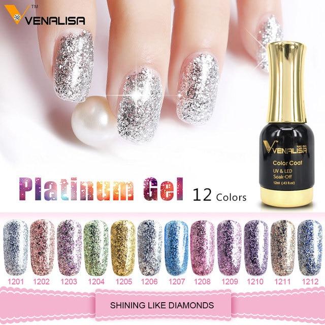 Venalisa 12ml Platinum Gel nail polish Super Shiny Effect Nail Gel Perfect Soak off UV&LED nail color foil chorme Gel Polish