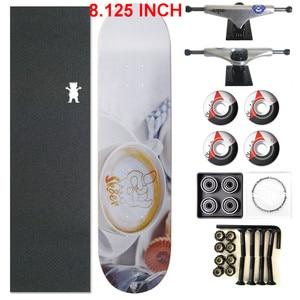 Image 2 - スケーター1セットプロ品質の完全なスケートボードデッキ8.125インチスケートボードホイール & トラック二ロッカースケートボードパーツ