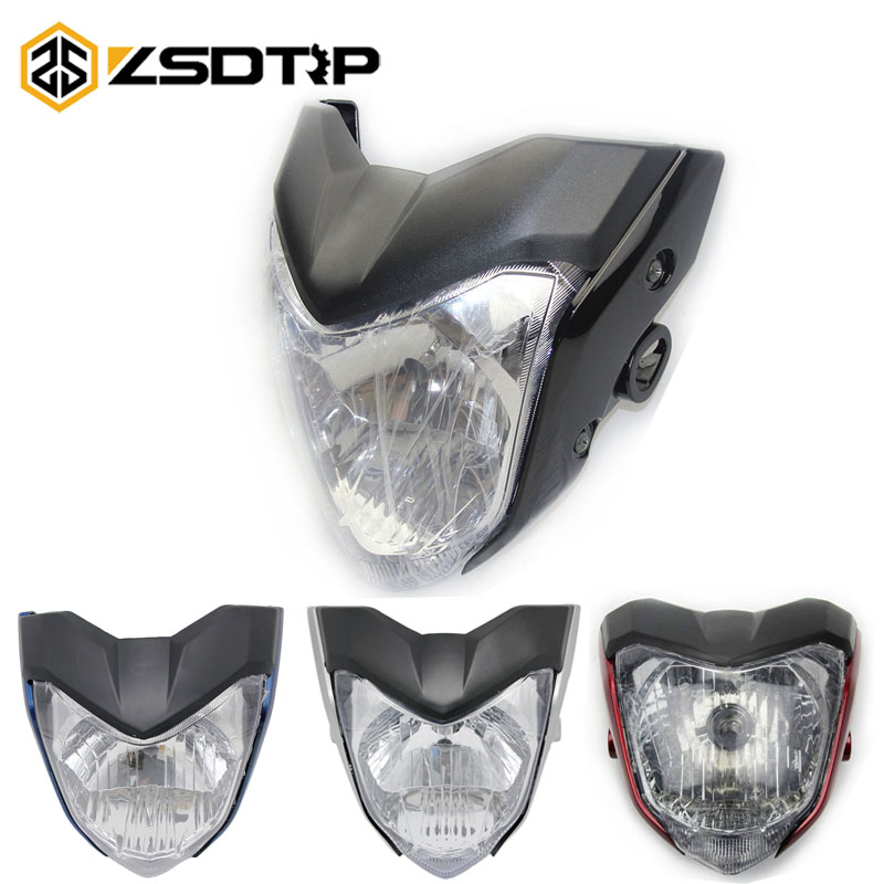 ZSDTRP 4 Colors Motorcycle H4 Head Light Headlamp Comp With Lamp Case For Yamaha FZ 16 KTM Most Racing Motor