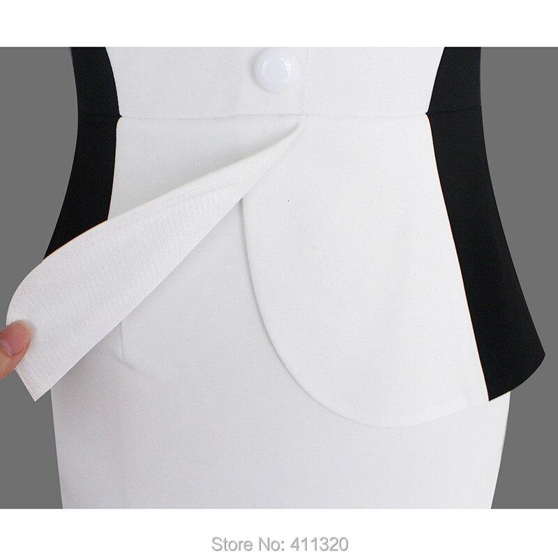 Womens Elegant Business Suits Blazer with Skirt Formal Office Uniform Designs Women Lapel Colorblock Knee Length Pencil Dress (14)