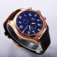 Corgeut High Quality New Watch Bule Dial PVD Case Mixed Strap Of The Cloth And Leather